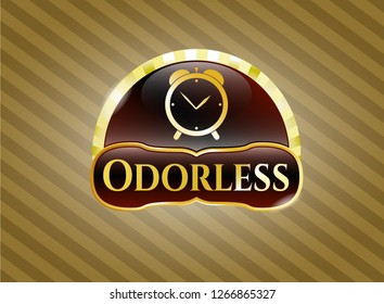 Gold shiny badge with alarm clock icon and Odorless text inside