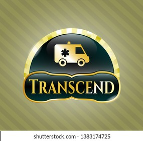 Gold shiny badge with ambulance icon and Transcend text inside