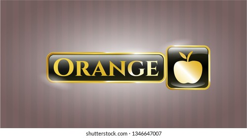 Gold shiny badge with apple icon and Orange text inside