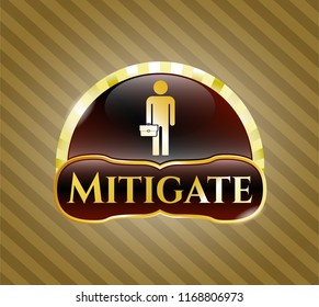 Gold shiny badge with businessman holding briefcase icon and Mitigate text inside