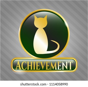 Gold shiny badge with cat icon and Achievement text inside