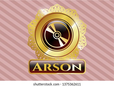 Gold shiny badge with CD or DVD disc icon and Arson text inside