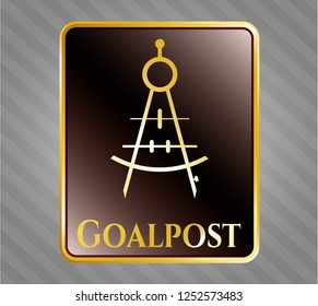Gold shiny badge with drawing compass icon and Goalpost text inside