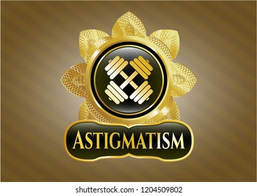 Gold shiny badge with dumbbell icon and Astigmatism text inside