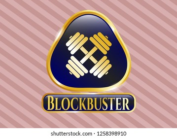 Gold shiny badge with dumbbell icon and Blockbuster text inside