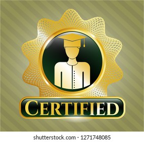 Gold shiny badge with graduated icon and Certified text inside