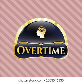 Gold shiny badge with head with gears inside icon and Overtime text inside