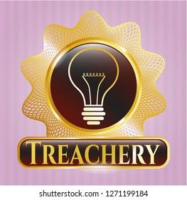 Gold shiny badge with idea icon and Treachery text inside
