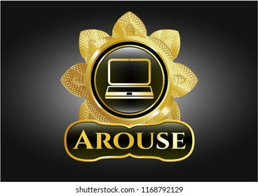 Gold shiny badge with laptop icon and Arouse text inside