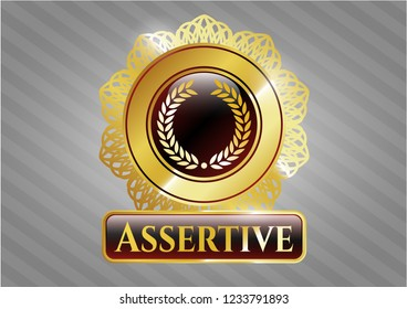 Gold shiny badge with laurel wreath icon and Assertive text inside
