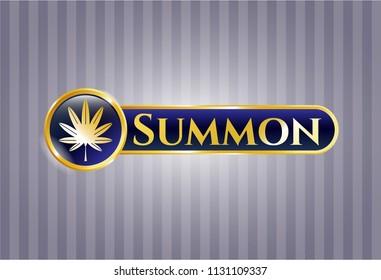 Gold shiny badge with marijuana leaf, weed icon and Summon text inside
