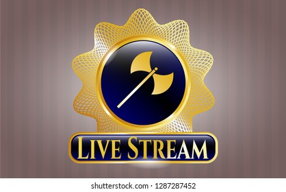 Gold shiny badge with medieval axe icon and Live Stream text inside