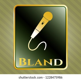 Gold shiny badge with microphone icon and Bland text inside
