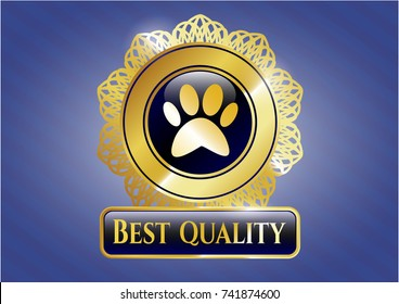 Gold shiny badge with paw icon and Best Quality text inside