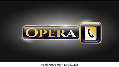 Gold shiny badge with phonebook icon and Opera text inside