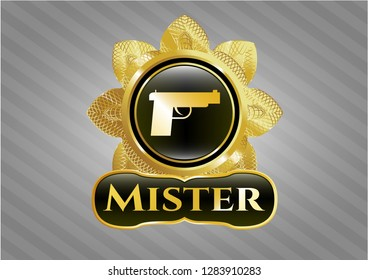 Gold shiny badge with pistol icon and Mister text inside