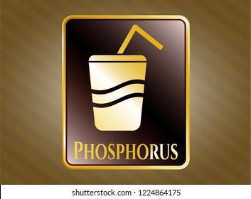 Gold shiny badge with soda icon and Phosphorus text inside