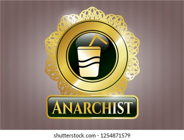 Gold shiny badge with soda icon and Anarchist text inside