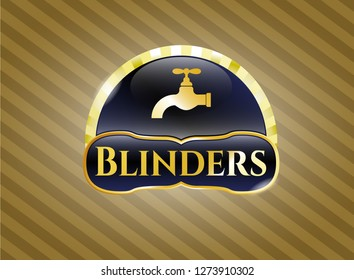 Gold shiny badge with tap icon and Blinders text inside