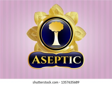 Gold shiny badge with tree icon and Aseptic text inside