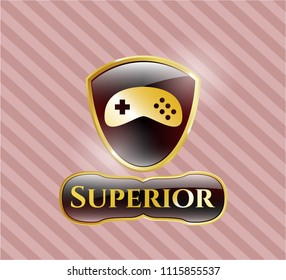 Gold shiny badge with video game icon and Superior text inside