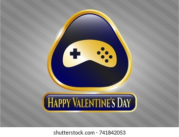 Gold shiny badge with video game icon and Happy Valentine's Day text inside
