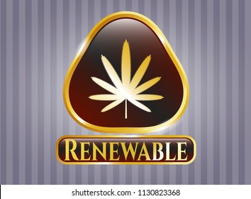Gold shiny badge with weed leaf icon and Renewable text inside