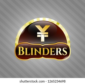 Gold shiny badge with yuan icon and Blinders text inside