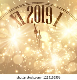 Gold shiny bokeh New Year 2019 card with clock and lights. Vector background.