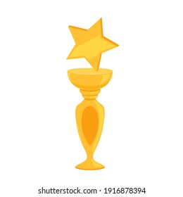 Gold shiny cup with a star as a reward for winning a sporting event or competition
