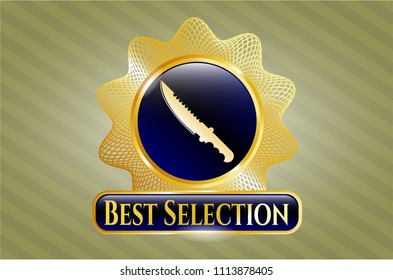 Gold shiny emb  Gold shiny badge with combat knife icon and Best Selection text insideGold badge with combat knife icon and Best Selection text insidelem with combat knife icon and Best Selection te