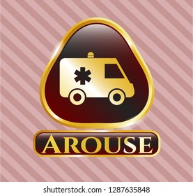 Gold shiny emblem with ambulance icon and Arouse text inside