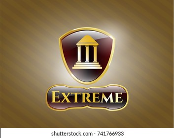 Gold shiny emblem with bank icon and Extreme text inside