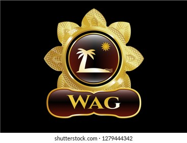 Gold shiny emblem with beach icon and Wag text inside