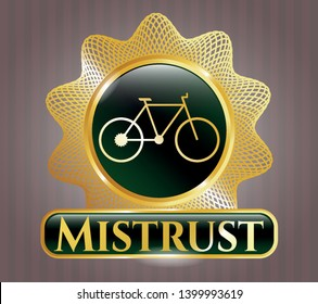 Gold shiny emblem with bike icon and Mistrust text inside