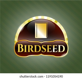 Gold shiny emblem with book icon and Birdseed text inside