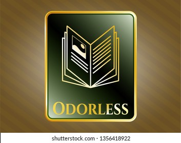 Gold shiny emblem with book icon and Odorless text inside