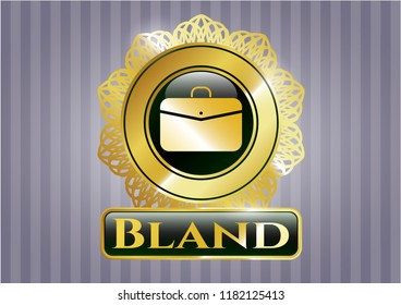 Gold shiny emblem with business briefcase icon and Bland text inside