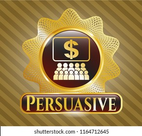 Gold shiny emblem with business congress icon and Persuasive text inside