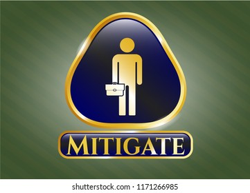 Gold shiny emblem with businessman holding briefcase icon and Mitigate text inside