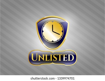 Gold shiny emblem with clock, time icon and Unlisted text inside