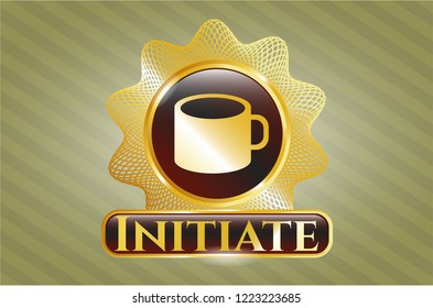 Gold shiny emblem with coffee cup icon and Initiate text inside