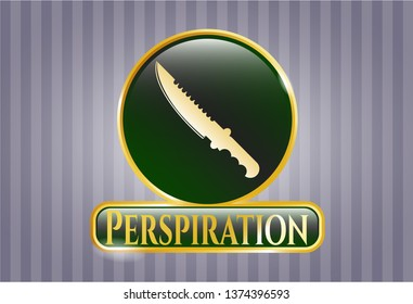 Gold shiny emblem with combat knife icon and Perspiration text inside