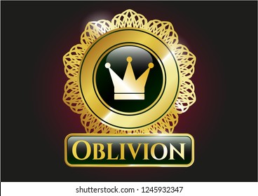 Gold shiny emblem with crown icon and Oblivion text inside