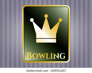 Gold shiny emblem with crown icon and Bowling text inside
