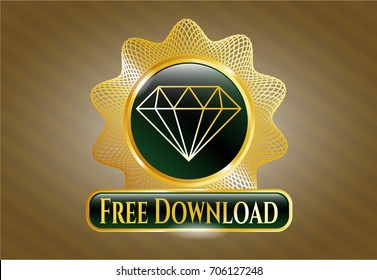 Gold shiny emblem with Diamond icon and Free Download text inside