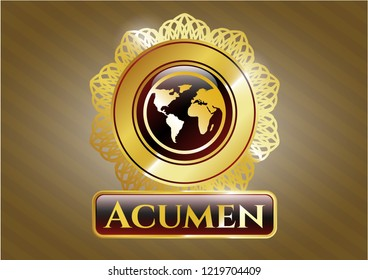 Gold shiny emblem with earth icon and Acumen text inside