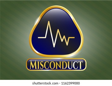 Gold shiny emblem with electrocardiogram icon and Misconduct text inside