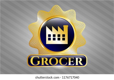 Gold shiny emblem with factory icon and Grocer text inside