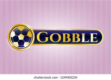 Gold shiny emblem with football ball icon and Gobble text inside